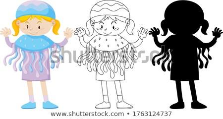 Lány meduza jelmez szín skicc sziluett Stock fotó © bluering