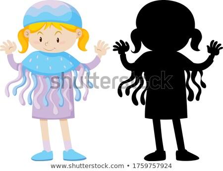 Meisje kwal kostuum silhouet illustratie Stockfoto © bluering