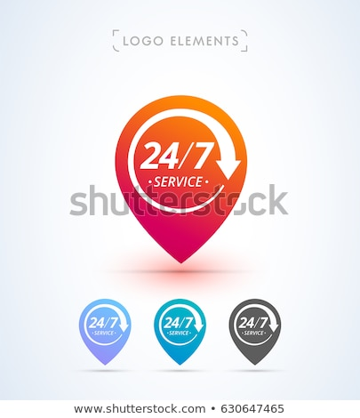 map pointer set with 24 hour service symbol Stock photo © SArts