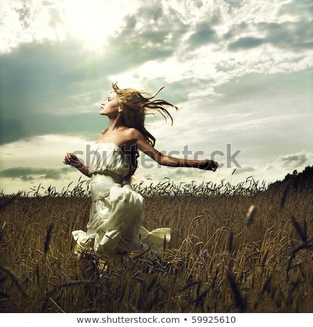 Gyönyörű nő mező nyáridő fiatal kezek arc Stock fotó © tobkatrina