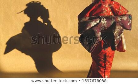 Geisha ombra silhouette dietro porte carta Foto d'archivio © sahua