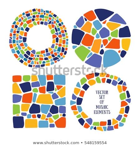Foto stock: Mosaico · quadros · ilustração · branco · projeto · vidro