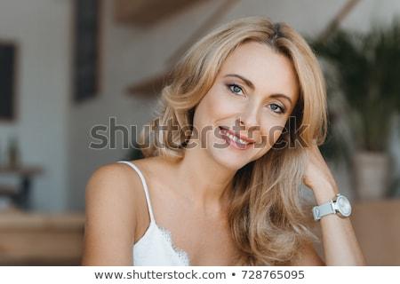 Portret piękna biały uśmiech smutne Zdjęcia stock © igabriela