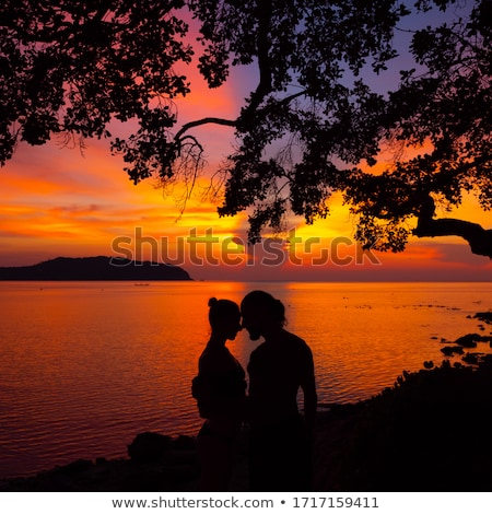 Stock photo: couple sunset profile back light in orange sea