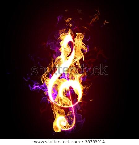 tüzes · violinkulcs · illusztráció · tűz · absztrakt · terv - stock fotó © -Baks-