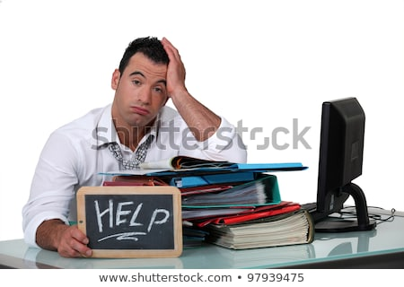 Overworked white collar working crying out for help Stock photo © photography33