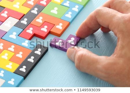 fehér · puzzle · kék · üzlet · földgömb · építkezés - stock fotó © photography33