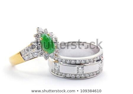 Jade Diamond Wedding Ring Stok fotoğraf © vichie81