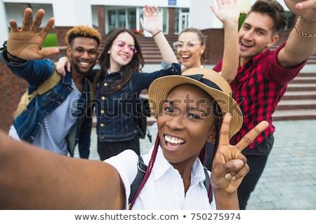 Photo stock: école · amis · à · l'extérieur · enfants · élèves · groupe