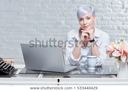 platinum blonde and laptop Stock photo © photography33