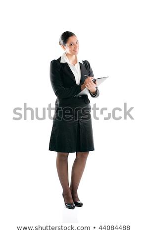 iş · kadını · eller · yazı · genç · mavi - stok fotoğraf © get4net