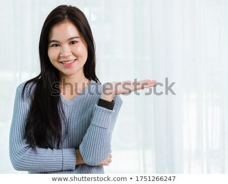 ázsiai barna hajú indiai nő hosszú haj közelkép Stock fotó © lunamarina