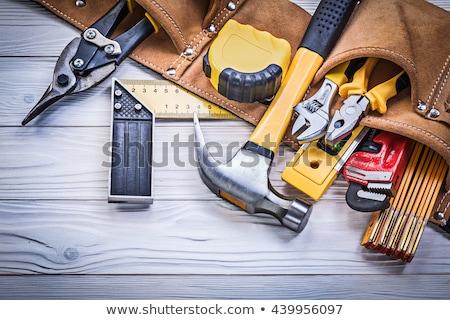 Inşaat araçları ayarlamak kırmızı bilgisayar ev Stok fotoğraf © timurock