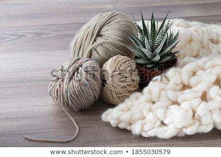 Stockfoto: Bruin · wol · garen · textuur · patroon