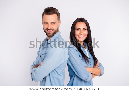 Casual portrait of young woman with his hands folded stock photo © get4net