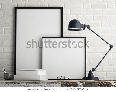 Stok fotoğraf: Galeri · iç · boş · kareler · karanlık · mavi