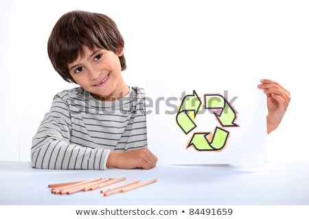 little boy showing a circle composed of arrows Stock photo © photography33
