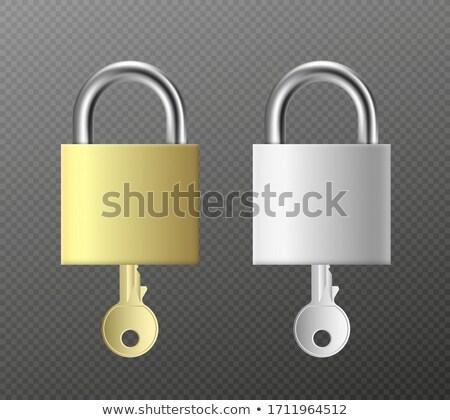 padlock and key   a set of padlocks and keys in brass stock photo © fenton