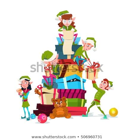 Stockfoto: Christmas Card Cheerful Santa Claus Elf Girl