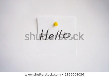Hello kézírás hirdetőtábla nő kezek textúra Stock fotó © kawing921