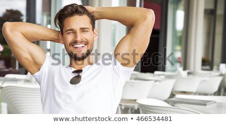 retrato · desierto · detrás · hombre · sexy - foto stock © curaphotography