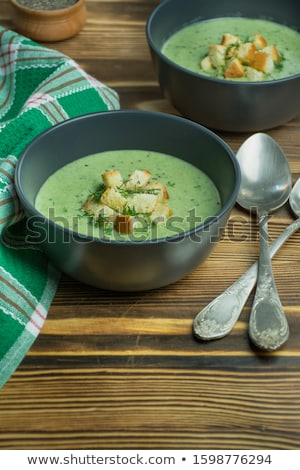 Crema apio sopa tazón salmón pan Foto stock © joker