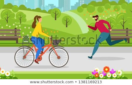 女性 サイクル 行使 公園 幸せ 成熟した女性 ストックフォト © roboriginal