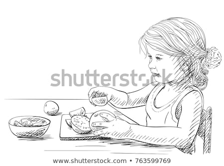 petite · fille · bol · légumes · heureux · enfant - photo stock © ilona75