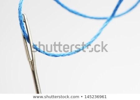 oog · naald · Blauw · wol · mode · touw - stockfoto © compuinfoto