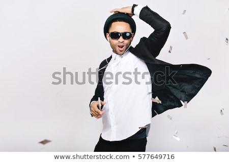 portré · jóképű · fiatalember · napszemüveg · izolált · fekete - stock fotó © acidgrey