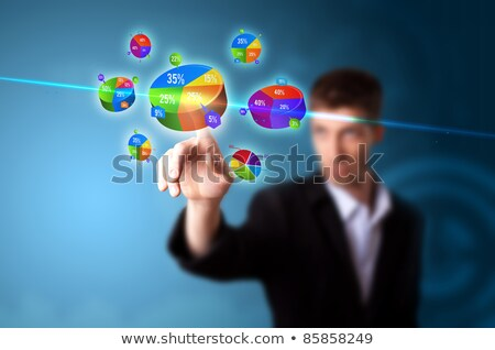 Mão botão empresário escritório Foto stock © ra2studio
