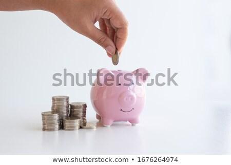Mão piggy bank isolado branco caminho Foto stock © ssuaphoto