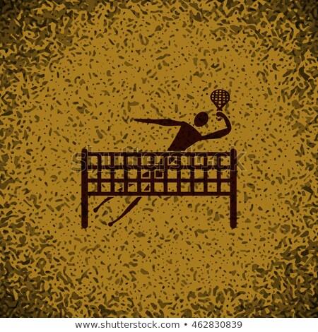 badminton player pictogram on brown background stock photo © seiksoon