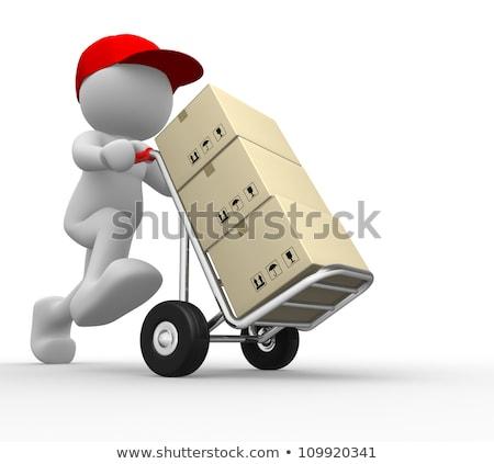 3d People Delivers Cardboard Box Stock fotó © CoraMax