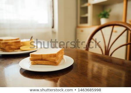 Tablo tost küçük sosis krem peynir Stok fotoğraf © guillermo