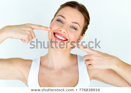 Güzel bir kadın mükemmel kırmızı dudaklar kız kadın Stok fotoğraf © lunamarina