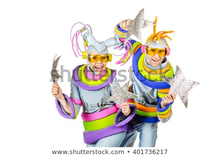 alien silver future couple silver man fashion woman Stock photo © lunamarina