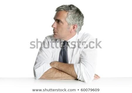 Сток-фото: бизнесмен · старший · портрет · расслабиться · белый · столе