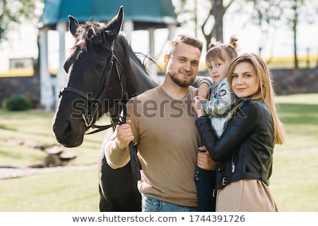 Foto stock: Retrato · cavalo · branco · mulher · grama · mulheres
