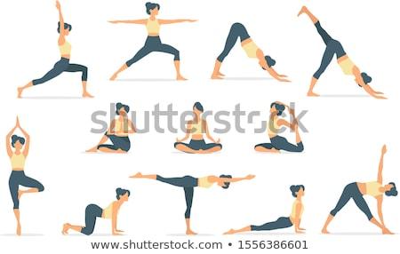 mujer · meditando · loto · plantean · yoga · estudio - foto stock © elnur