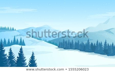 Stock photo: Snowy Mountains Cartoon