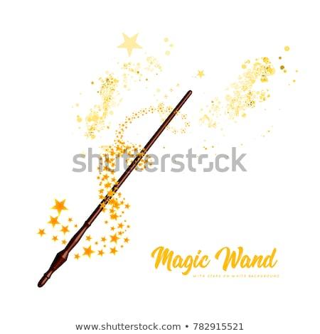 Varázspálca fehér illusztráció színes illuzionista csillagok Stock fotó © fresh_7266481