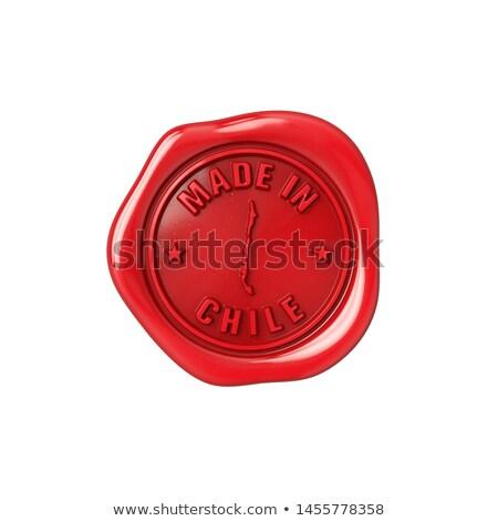 Chile bélyeg piros viasz fóka izolált Stock fotó © tashatuvango