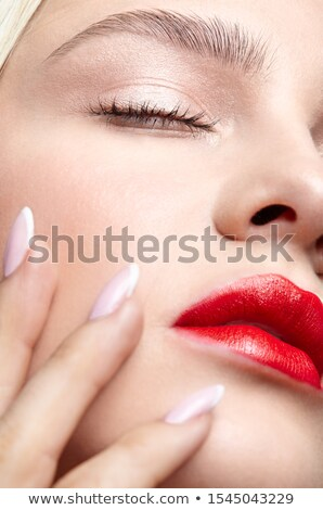 Glamorous Woman's Face Close-up Portrait. Red Lipstick and Fingernails Stock photo © gromovataya