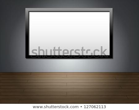 lcd · televizor · perete · negru · ecran · agatat - imagine de stoc © smeagorl