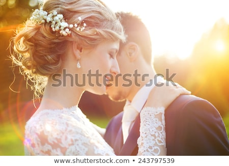 romantische · bruid · bruidegom · buitenshuis · bloemen - stockfoto © monkey_business