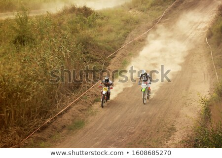 Poeirento deserto motocicleta verão noite estrada Foto stock © OleksandrO