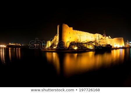 castillo · barco · agua · pared · piedra - foto stock © kirill_m
