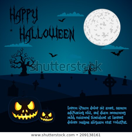 Halloween illustration of pumpkins at cemetery under full moon night with text placeholders Stock photo © Mischoko