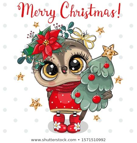 christmas decoration with fairy white owl stock photo © dariazu